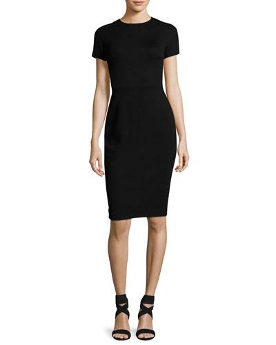 Short-Sleeve Waffle-Weave Sheath Dress