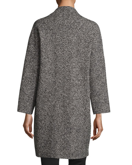 Antonelli Zip-Front Oversized Herringbone Wool Coat