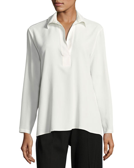 Long-Sleeve Collared Silk-Blend Tunic