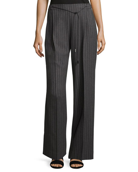 Pinstriped Wool-Blend Pants