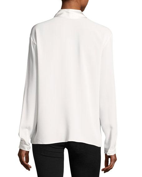 Long-Sleeve Tie-Neck Silk-Blend Tunic