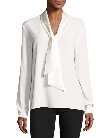 Antonelli Long-Sleeve Tie-Neck Silk-Blend Tunic