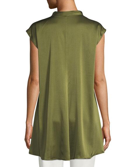 Cap-Sleeve Stretch Silk Charmeuse Top, Plus Size