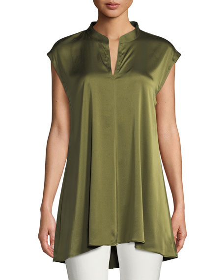 Eileen Fisher Cap-Sleeve Stretch Silk Charmeuse Top, Plus