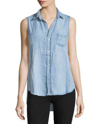 Fiona Sleeveless Stone-Washed Denim Shirt