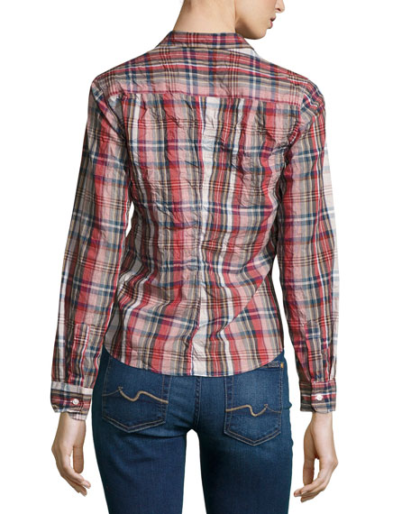 Barry Washed Plaid Cotton Shirt, Red Pattern
