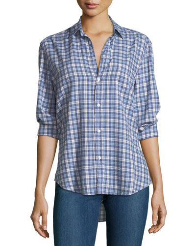 Eileen Button-Down Plaid Cotton Shirt