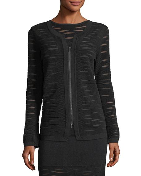 Aurora Textured Zip-Front Jacket, Petite