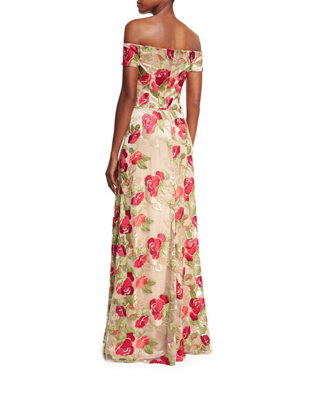 Off-the-Shoulder Floral Embroidered Evening Gown