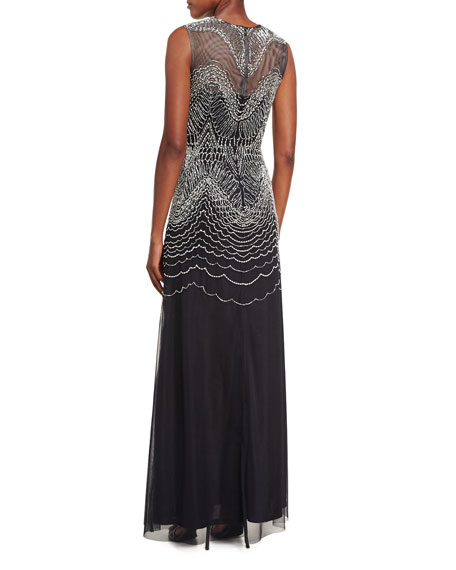 Sleeveless Metallic Geometric-Embroidered Gown