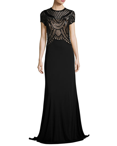 David Meister Short-Sleeve Jersey Gown w/ Sequined Geometric