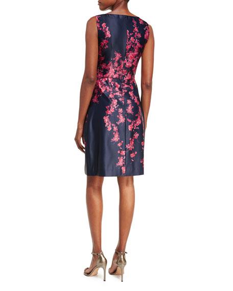 Sleeveless Bateau-Neck Floral Satin Cocktail Dress