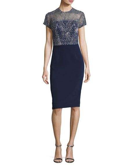 Short-Sleeve Georgette Metallic Cocktail Dress