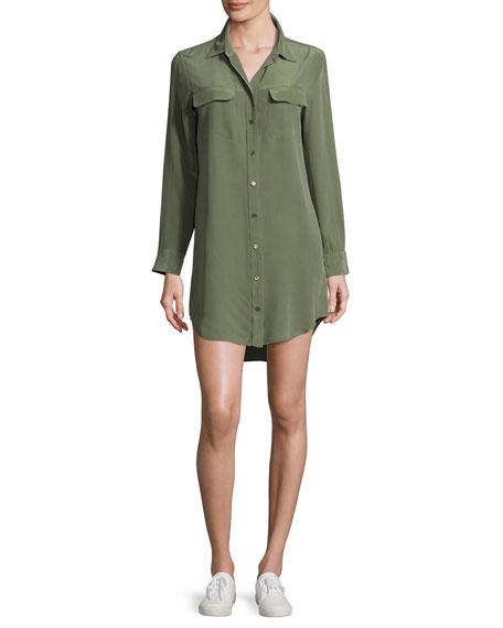 Equipment Slim Signature Long-Sleeve Dress, Dark Green