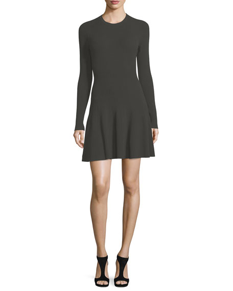 A.L.C. Miriam Long-Sleeve Ribbed Fit-and-Flare Dress
