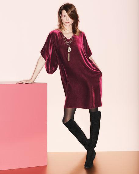 Easy Velvet Kimono-Sleeve Dress, Plus Size