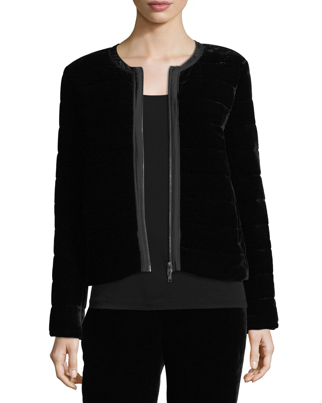 Eileen Fisher Quilted Velvet Bomber Jacket Neiman Marcus