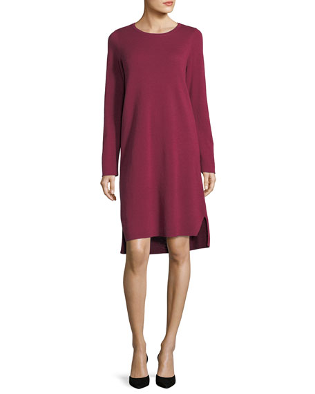 Eileen Fisher Fine Merino Interlock Knee-Length Dress, Plus