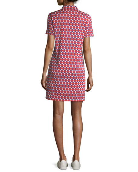 Jacquard Short-Sleeve Collared Performance Dress