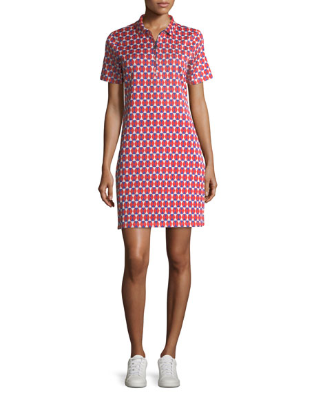 Tory Sport Jacquard Short-Sleeve Collared Performance Dress