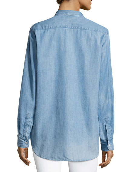 Eileen Long-Sleeve Denim Button-Down Shirt