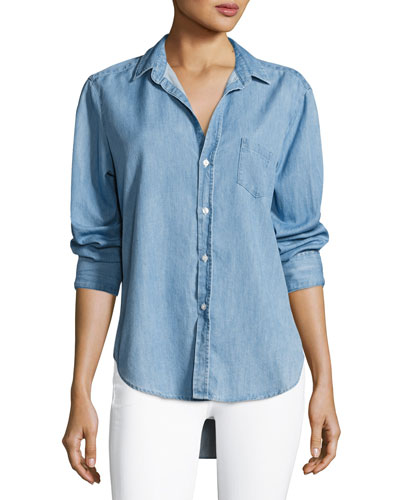 Eileen Long-Sleeve Denim Button-Down Shirt