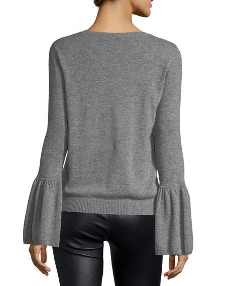 Autumn Cashmere Crewneck Bell-Sleeve Cashmere Pullover Sweater