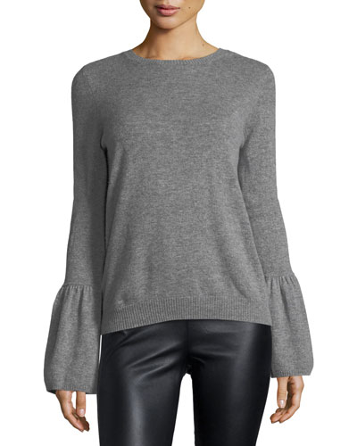 Crewneck Bell-Sleeve Cashmere Pullover Sweater