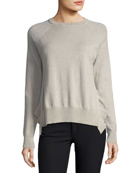 Autumn Cashmere Crewneck Long-Sleeve Boxy Pullover Sweater w/