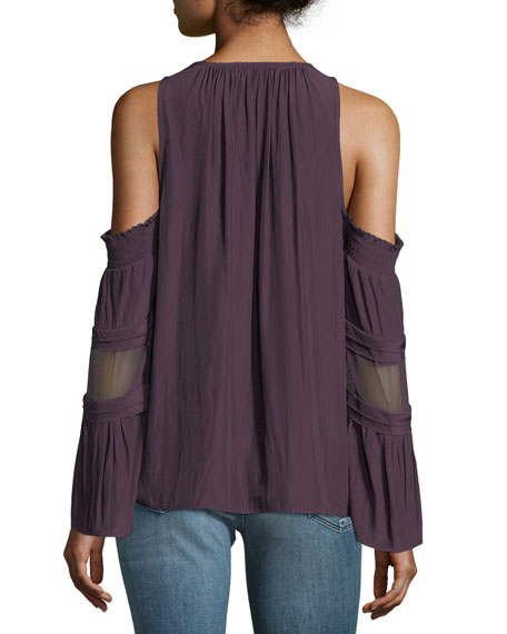 Faretta V-Neck Cold-Shoulder Blouse