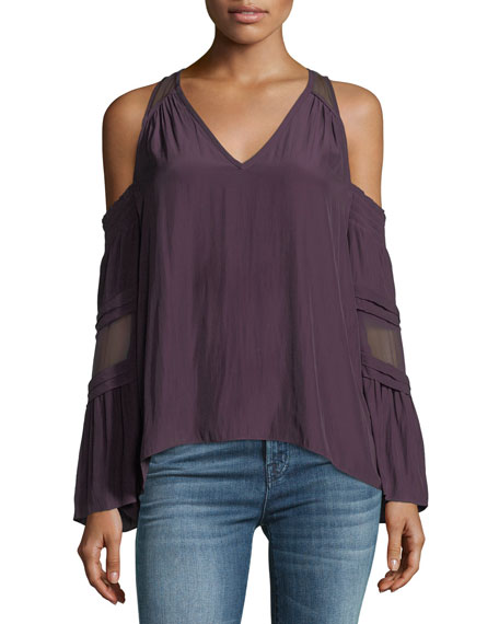 Ramy Brook Faretta V-Neck Cold-Shoulder Blouse