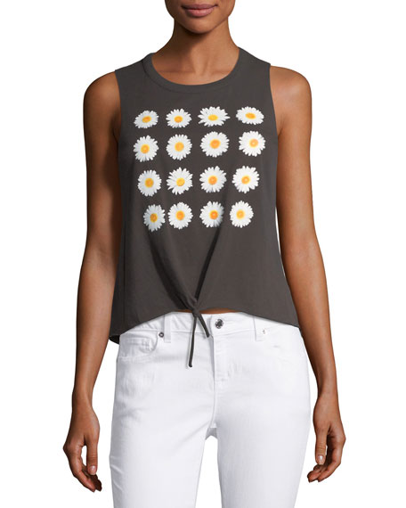 Daisies Tie-Front Muscle Tank