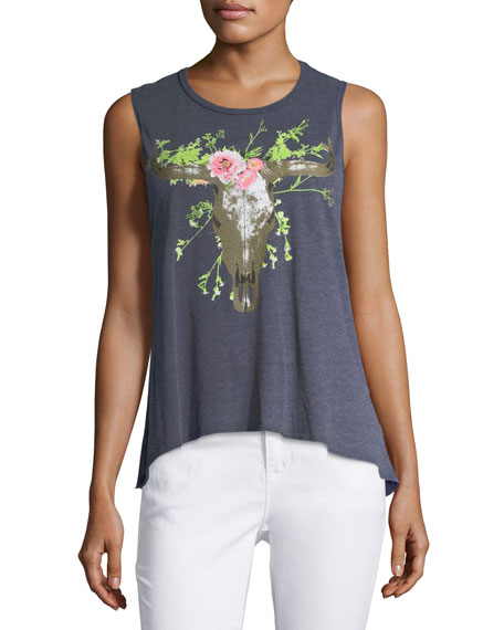 Chaser Floral Cow-Skull Tank