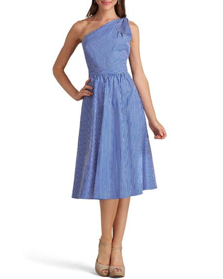 One-Shoulder Striped Cotton Dress