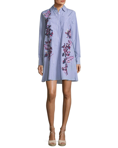 Striped Button-Front Shirtdress w/ Floral Embroidery