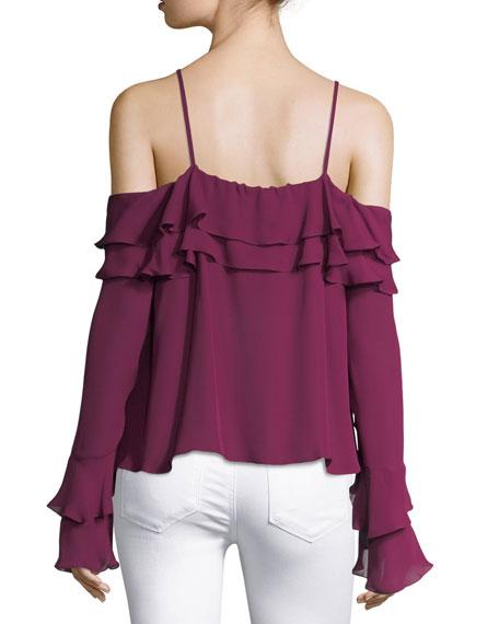 Edie Silk Georgette Cold-Shoulder Ruffled Top
