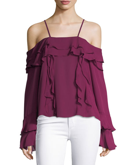 Tanya Taylor Designs Edie Silk Georgette Cold-Shoulder Ruffled
