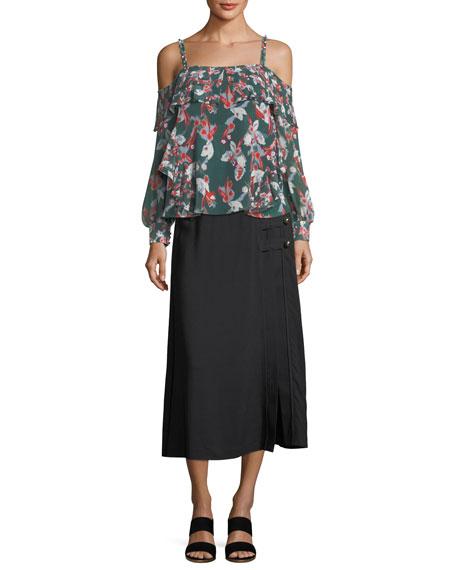 Wesley Viscose Twill Midi Skirt w/ Button Trim