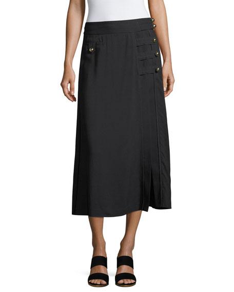 Tanya Taylor Designs Wesley Viscose Twill Midi Skirt