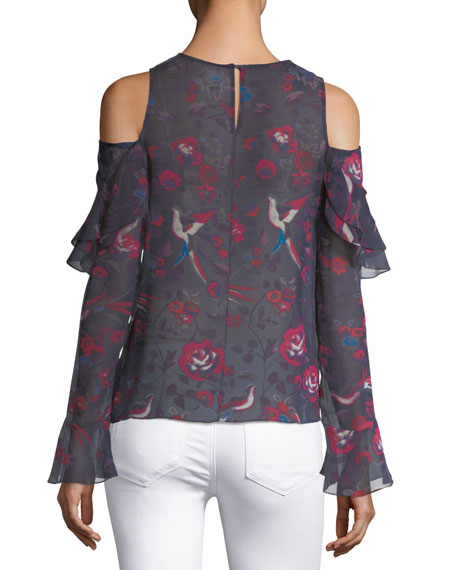 Georgina Floral-Print Silk Blouse