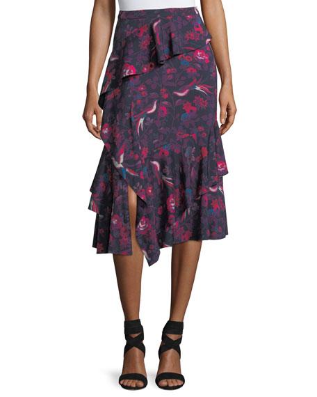 Tanya Taylor Aurelia Floral-Print Ruffled A-Line Skirt