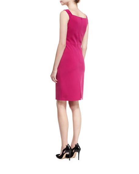 Origami Square-Neck Sleeveless Cocktail Dress