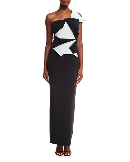 Origami One-Shoulder Asymmetric Column Gown