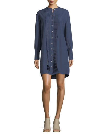 Sunbeam Button-Front Pleated Shirtdress