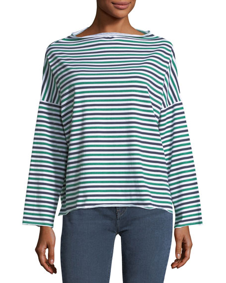 MiH Extra Striped Long-Sleeve Cotton Top