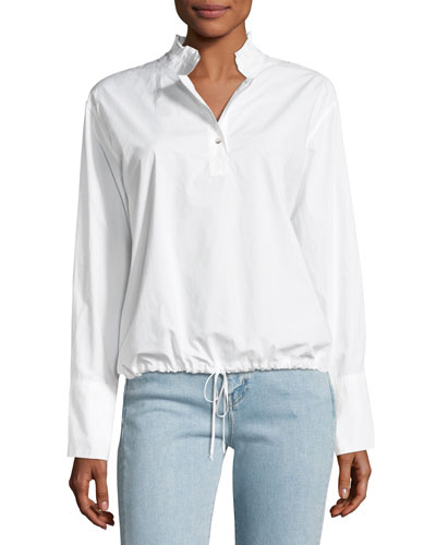 Drawstring Stand-Collar Poplin Top