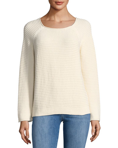 Opening Waffle-Knit Tieback Sweater