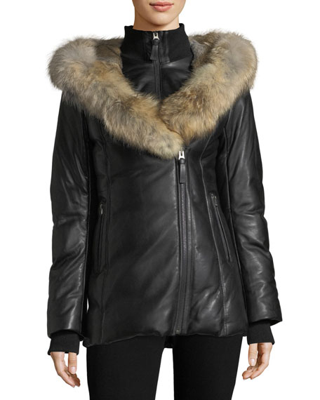 Mackage Ingrid Leather Jacket w/ Fur Collar