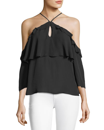 Luciana Halter Off-the-Shoulder Ruffled Silk Blouse
