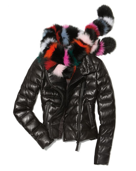 Ulani Zip-Front Quilted Puffer Leather Jacket